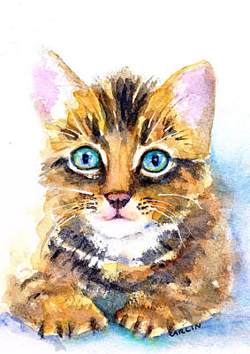 Painting - Tabby Kitten Watercolor by Carlin Blahnik CarlinArtWatercolor
