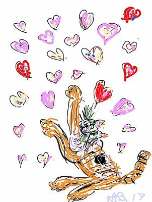 Digital Art - Tabby Playing With Hearts by Kathy Barney