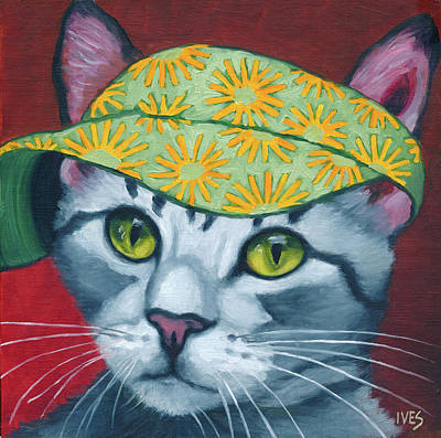 Painting - Tabby w/Sun Visor by Rebecca Ives
