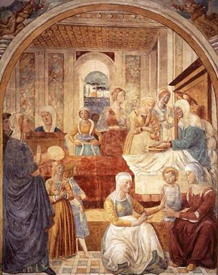 Painting - Tabernacle Of The Visitation Birth Of Mary by Gozzoli Benozzo