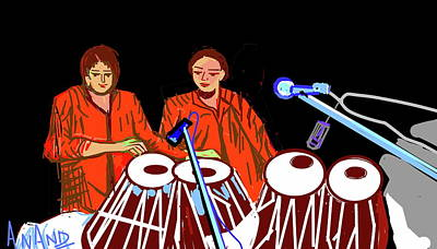 Digital Art - Tabla Players by Anand Swaroop Manchiraju