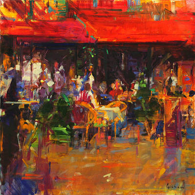 Kitchen Chair Painting - Table At Villefranche by Peter Graham