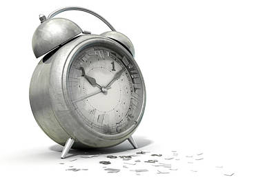Wasted Digital Art - Table Clock Time Running Out by Allan Swart
