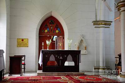 Photograph - Table Cross And Flowers Altar For Ceremony Inside St Johns Cathedral Peshawar Pakistan by Imran Ahmed