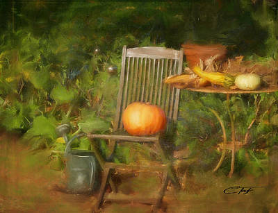 Pumpkin Mixed Media - Table For One by Colleen Taylor