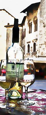 Wine Bottles Digital Art - Table For Two by Barb Pearson