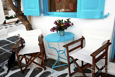 Photograph - Table For Two In Mykonos by John Rizzuto