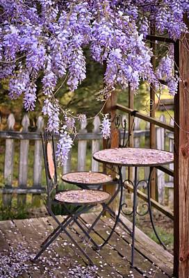 Photograph - Table For Two Under Wisteria Canopy by Greg Jackson