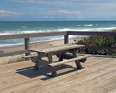 Table For You In Melbourne Beach Florida Art Print by Allan  Hughes