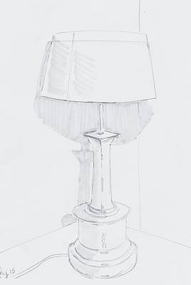 Table Lamp Drawing - A Quiet Corner Original by Mike Jory
