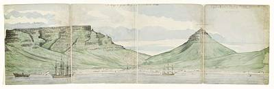 Landmarks Painting Royalty Free Images - Table Mountain and Cape Town seen from the sea, Jan Brandes, 1787 Royalty-Free Image by Jan Brandes