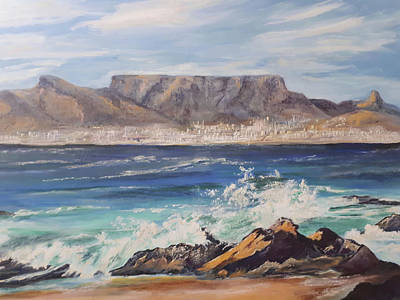 South Sea Mixed Media - Table Mountain by Jo Gold