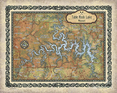 Painting - Table Rock Lake Map by Lisa Middleton