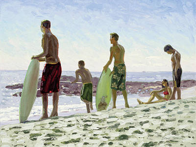 Laguna Beach Painting - Table Rock Skimboarders by Steve Simon