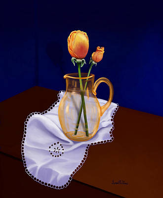 Art Print featuring the painting Table Roses by Sena Wilson