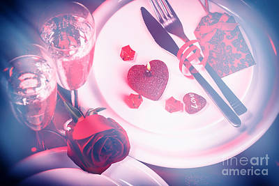 Photograph - Table Setting For Valentines Day by Anna Om