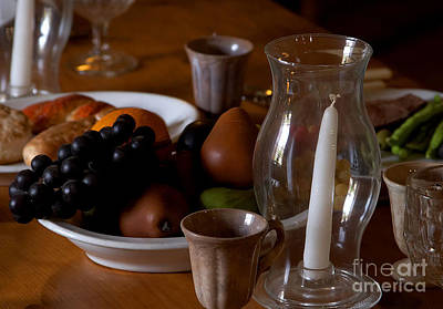 Photograph - Table Setting With Fruits Veg Candles Bread by R Muirhead Art
