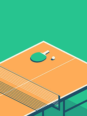 Ping Pong Wall Art - Digital Art - Table Tennis Table Isometric - Green by Ivan Krpan