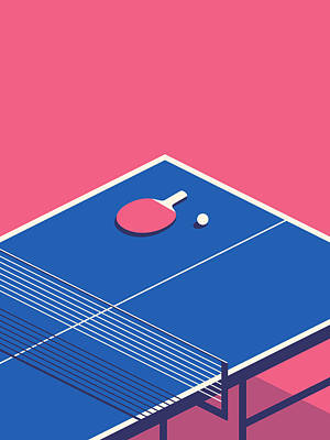 Ping Pong Wall Art - Digital Art - Table Tennis Table Isometric - Red by Ivan Krpan