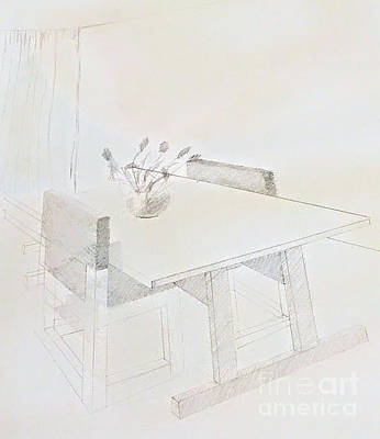 Drawing - Table,chairs And Flowers by Suzn Art Memorial