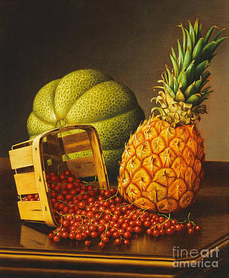 Still Life With Green Apples Painting - Tabletop Still Life With Fruit by Levi Wells Prentice