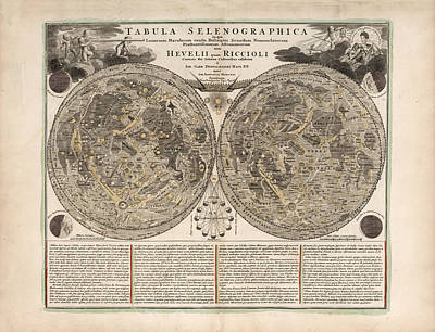 Royalty-Free and Rights-Managed Images - Tabula Selenographica - Map of the Moon - Lunar Surface - Antique Illustrated Map - Lunar Map by Studio Grafiikka