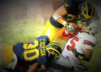 University Of Michigan Painting - Tackle Ohio State by John Farr