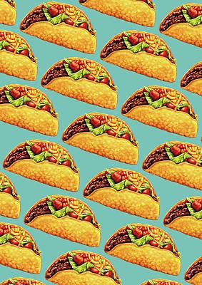 Kitsch Digital Art - Taco Pattern by Kelly Gilleran