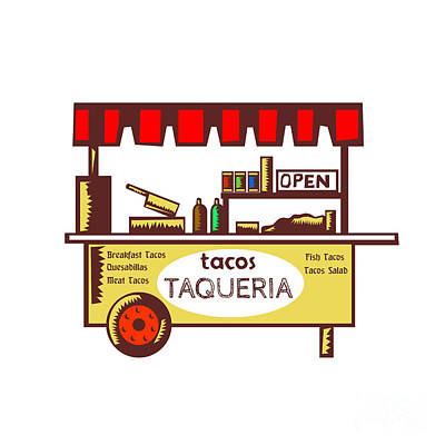 Taco Stand Taqueria Stand Woodcut Art Print