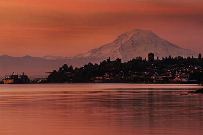 Quiet Town Photograph - Tacoma Bay Mount Rainier Sunrise by Mike Reid