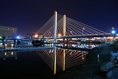 Tacoma Hwy 509 Bridge Up In Lights 2 Art Print