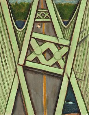 Painting - Tacoma Narrows Bridge Collapse  by Tommervik