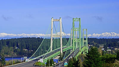 Photograph - Tacoma Narrows Bridge With Olympic Mountains by Jack Moskovita