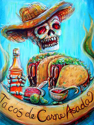 Print featuring the painting Tacos De Carne Asada by Heather Calderon