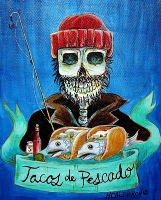 Skull Painting - Tacos De Pescado by Heather Calderon