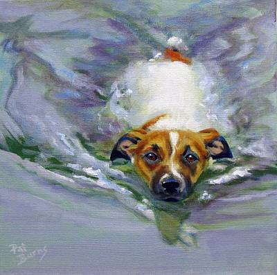 Dog Swimming Wall Art - Painting - Tadpole by Pat Burns