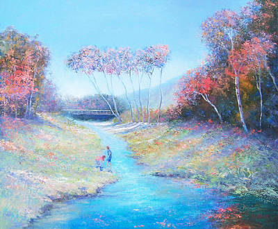 Country Scenes Painting - Tadpoling By The River by Jan Matson