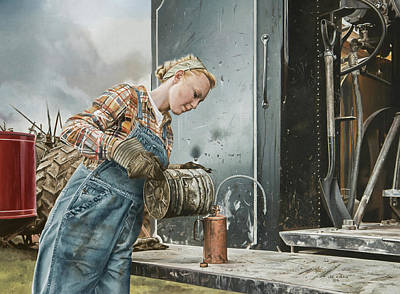 Steam Tractor Painting - Taffeta by Lee Alban