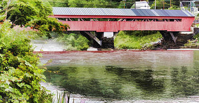 Taftsville Photograph - Taftsville Covered Bridge Watercolor by Teri  Kimbro