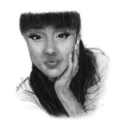 Black Art Drawing - Ariana Grande Drawing By Sofia Furniel by Sofia Furniel