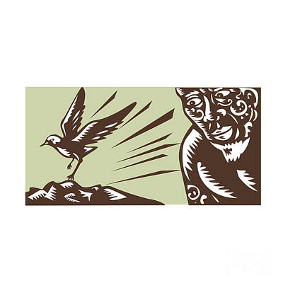 Tagaloa Looking At Plover Bird Woodcut Art Print by Aloysius Patrimonio