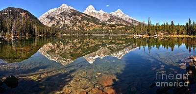 Photograph - Taggart Lake Reflection Panorama by Adam Jewell