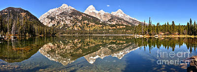 Photograph - Taggart Lake Snow Capped Reflections by Adam Jewell