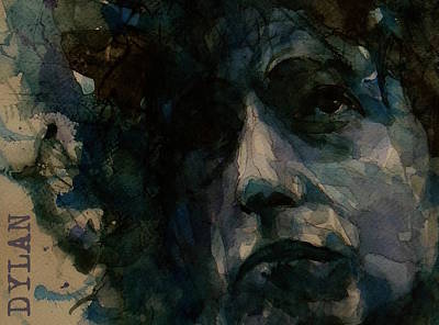 Folk Painting - Tagged Up In Blue- Bob Dylan  by Paul Lovering