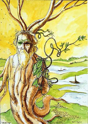 Rabindranath Tagore Painting - Tagore . Old Tree And Poet. Ek Kobi Gaach by Ayan  Ghoshal