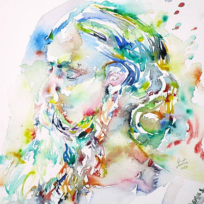 Tagore Painting - Tagore - Watercolor Portrait.4 by Fabrizio Cassetta