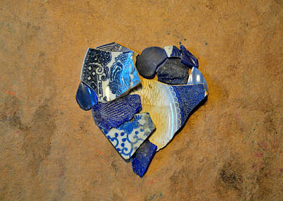 Beige Glass Mixed Media - Mosaic Heart On Brown Paper 5 by Adam Riggs