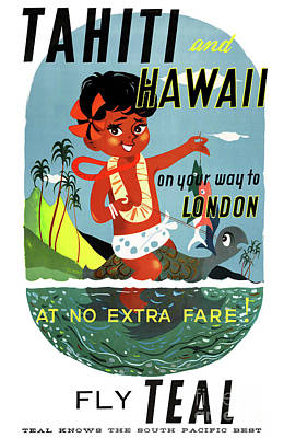 Hawaii Sea Turtle Mixed Media - Tahiti Hawaii Vintage Travel Poster Restored by Carsten Reisinger