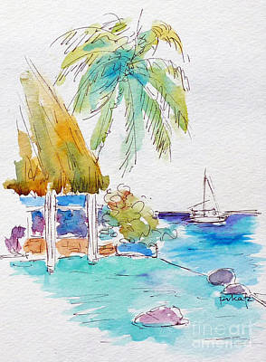 Painting - Tahiti Lotus Pool by Pat Katz