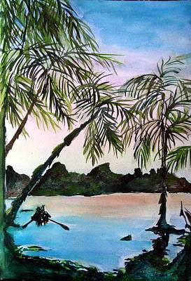 South Pacific Drawing - Tahiti by Mindy Newman